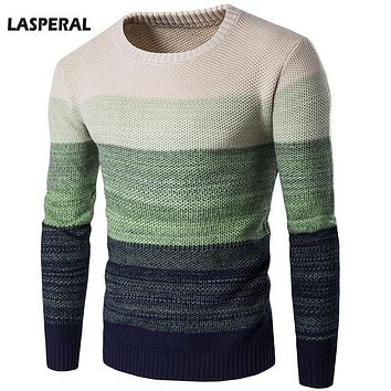 LASPERAL 2017 Autumn Winter Sweater Men Casual Pullover Gradient Color O-Neck Striped Slim Knitting Mens Sweaters and Pullovers