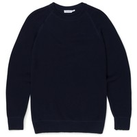 Men's Cotton Rack Stitch Jumper in Navy | Sunspel