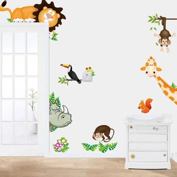 Jungle Animal Kids Baby Nursery Child Home Decor Mural Wall Sticker Decal