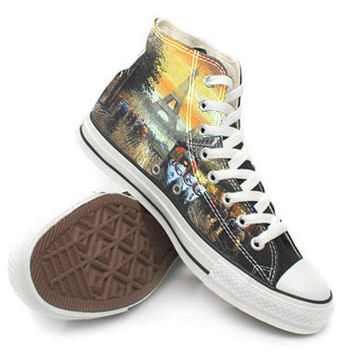 Eiffel tower Shoes,High Top,canvas shoes,Painted Shoes,Special Christmas Gift,Birthday gift,Men Shoes,Women Shoes