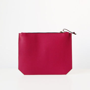 Magenta Clutch, Saffiano Leather, Raspberry, Leather Pouch, Leather Clutch, Evening bag