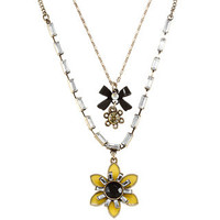 Betsey Johnson Cubic Zirconia Black and Yellow Flower 2-row Pendant Necklace | Overstock.com