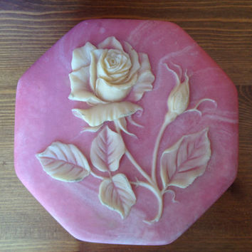 PINK! So feminine pink trinket box with rose relief.
