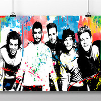 One Direction Poster Print  -  One Direction Print - One Direction Art - One Direction Watercolour