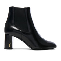 Saint Laurent Leather Loulou Pin Boots in Black | FWRD