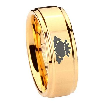 8MM Glossy Gold Step Edges Claddagh Design Tungsten Carbide Laser Engraved Ring