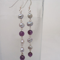 Amethyst and Pearls Long Earrings, Pearls and Amethyst Drop Earrings,Grey,Purple