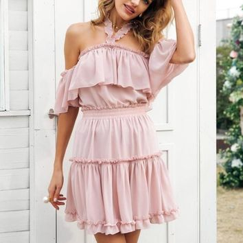 Halter Off Shoulder Summer Ruffle Dress
