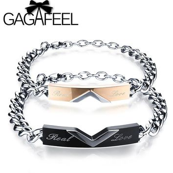 GAGAFEEL Personalized Engrave Name Couple Bracelets For Men Women Real Love Letter Stainless Steel Customized Bracelets