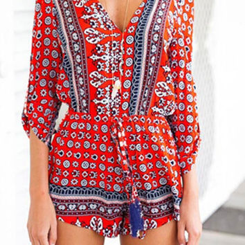 Cupshe Sea of Me Ethnic Plunging Romper