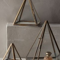 Glass Pyramid Display Cases by Anthropologie Bronze Set Of 3 Office