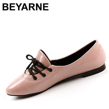 BEYARNE Free shipping New England Fall retro sweet candy colored patent leather pointed flat shoes Korean lace shoes