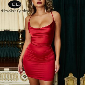 NewAsia Garden Red Satin Dress Women Bodycon Dress Leopard Print Summer Dress Sexy Dresses Party Night Club Wear Mini Vestidos