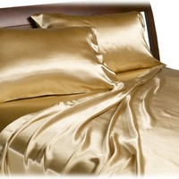 Divatex Home Fashions Royal Opulence Satin Full Sheet Set, Brass