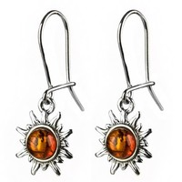 Honey Amber Sterling Silver Very Small Flaming Sun Earrings