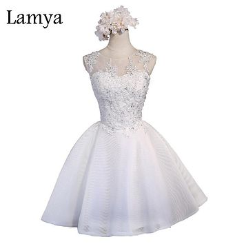 Lamya New Arrival Chiffon Evening Dress Short Lace Ball Gown Sexy Open Back Off White Pink Party Dresses