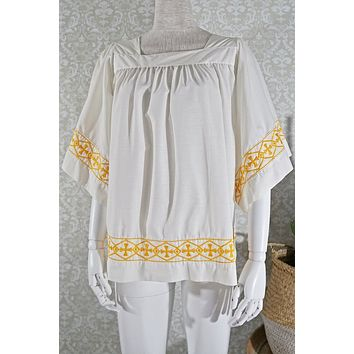 Vintage Cross  Embroidered Top