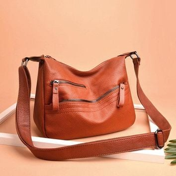 Women Solid Soft Leather Crossbody Bag Leisure Hobos Shoulde