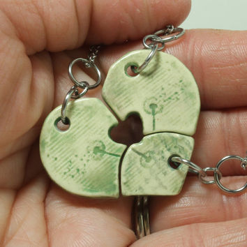 Friendship Heart pendants set of 3 pottery pieces Leaf green Dandelion