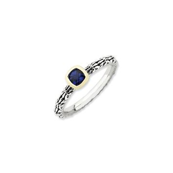 Stackable Sterling Silver & 14K Gold Plated Created Sapphire Ring