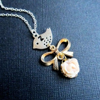 Personalized Bird Bow Tie Necklace Initial Necklace Mothers Gift Monogrammed Personalized Jewelry