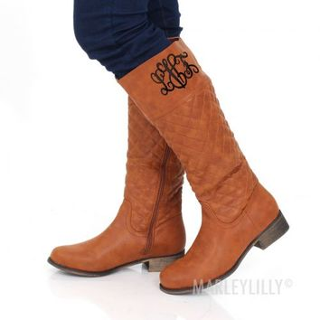 Monogrammed Cognac Quilted Riding Boot | Marley Lilly