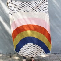 Rainbow & Raindrops Knit Throw Blanket