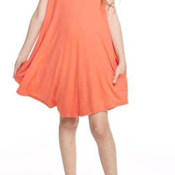 Reborn J Swing Dress with V Neck for Girls in Coral KT111-CORAL