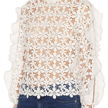 Self Portrait Floral Lace Flounce Sleeve Top: White at INTERMIX | Shop Now | Shop IntermixOnline.com