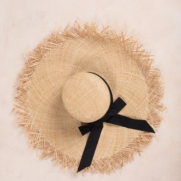 Jane Fringe Raw Edge Straw Hat