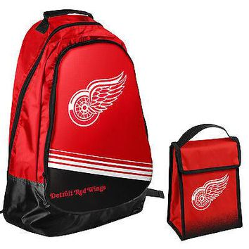 Licensed Detroit Red Wings NHL One Size Backpack Core Bag Insulated Lunch Box KO_19_1