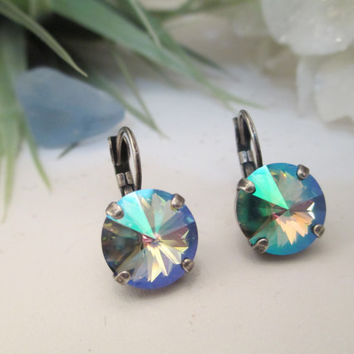 swarovski crystal 12mm rivoli earrings done in antique silver with paradise shine stone #166