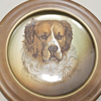 Antique 19C Prussian Framed Portrait Dog Plate Hand Painted & Signed
