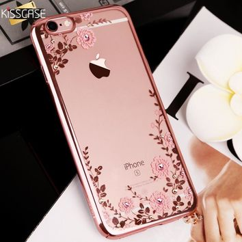 KISSCASE Glitter Case for iPhone 5 5s se Luxury Patterned Cases For iPhone X 7 Plus 6 6s Plus Diamond Flower Girly Phone Cover