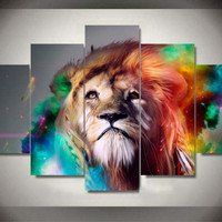Wall Art Painting by Numbers Colour Lion Animal Canvas Prints Living Room For Home Decor Unframed 5 Pieces/Set