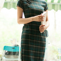 Traditional Grid Chinese Dress, Qipao,Cheongsam with Green Cotton
