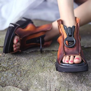 Women Leather Sandals Wedge Heels Sneakers Shoes Summer Retro Sandals Women Handmade Genuine Leather Sandals Boots Black Casual