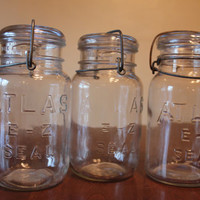 Set of three Vintage antique Glass Mason jars ATLAS E-Z Seal