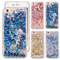 Phone Coque Cases Cover for iPhone 5 SE 6 6S 6 Plus 7 Plus 7 Covers Flowing Glitter Powder Hard Liquid Shell for iPhone 5S 5C 4