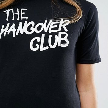 Motel Girl Fit T-Shirt With Hangover Club Print at asos.com
