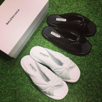 Best Online Sale Fashion Balenciaga Knotted Satin Slides Black Ivory white flip flop slipper