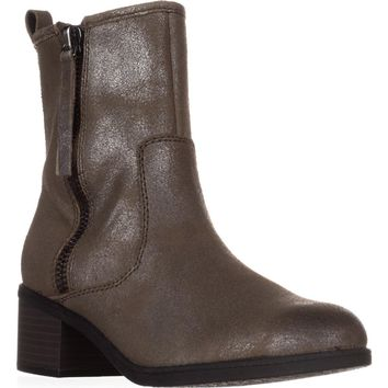 Clarks Nevella Devon Double Zip Combat Boots, Dark Taupe, 6 US / 36 EU