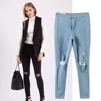 PEAPIX3 Women's Fashion High Rise Stretch Ripped Holes Jeans Skinny Pants [4920503492]