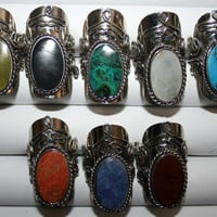 Big adjustable peruvian stone ring