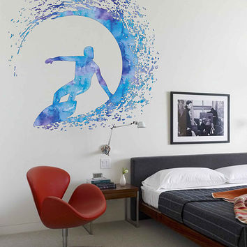 cik1881 Full Color Wall decal Watercolor Surfer wave surfing living room children's room