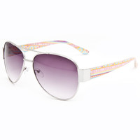 Full Tilt Sweet Tart Aviator Sunglasses Pink Combo One Size For Women 23407439801