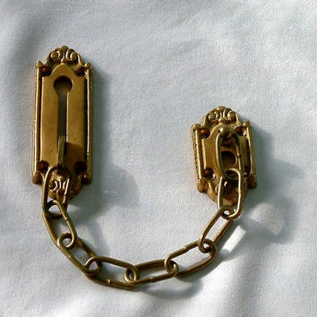 Security Chain Door Lock Hardware/vintage 1980/brass material/salvage