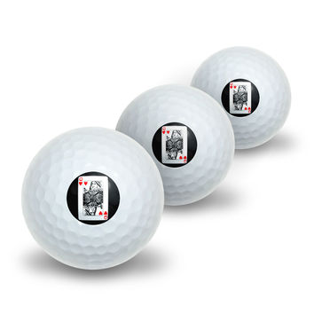 Playing Cards Queen of Hearts Novelty Golf Balls 3 Pack