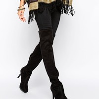 New Look Wide Fit   New Look Wide Fit Over The Knee Heeled Boots at ASOS