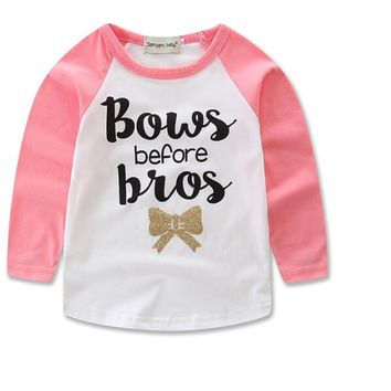 Bows Before Bros Baby Kid Child Toddler Newborn Long Sleeve Shirt